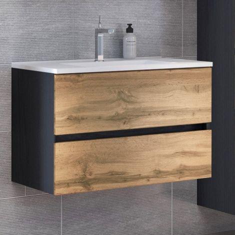 Waschtischunterschrank Luna 100cm 2 Schubladen - graphit/quecksilber