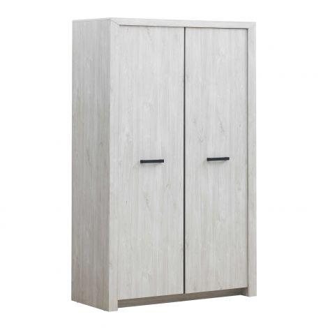 Kleiderschrank Elvira 126cm 2 Türen - Eiche weiß