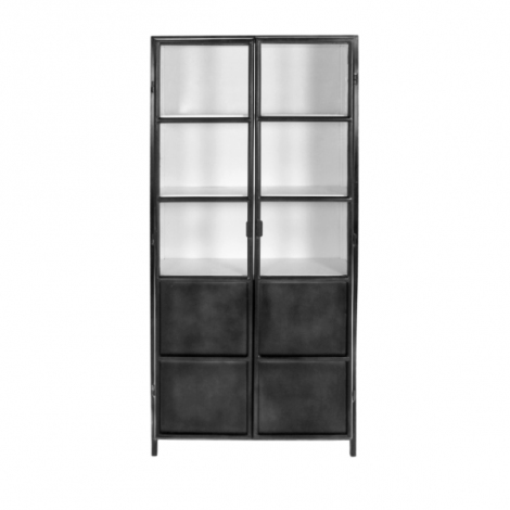 Schrank Bronx 90cm mit 2 Türen - grau/weiß