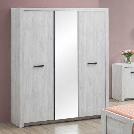 Kleiderschrank Elvira 173cm 3 Türen und Spiegel - Eiche weiß