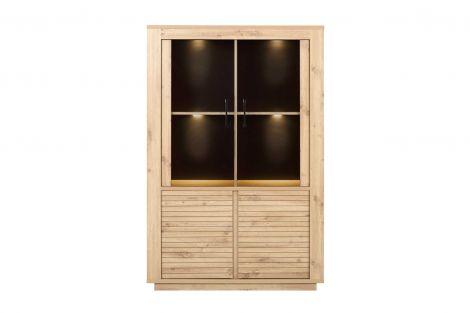 Adrian Glasvitrine 4 Türen - Eiche Artisan (inkl. LED-Lampe)