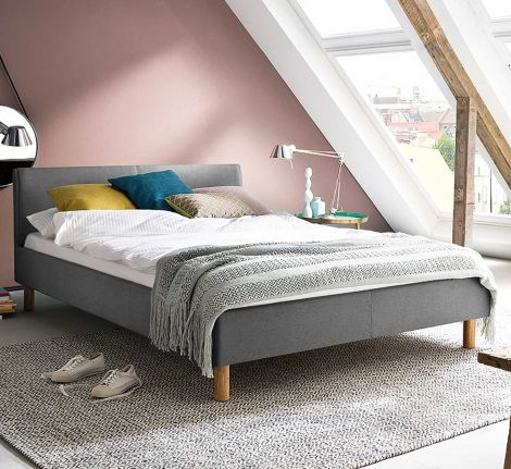 Gestoffeerd bed Lena - 120x200 cm - Lichtgrijs