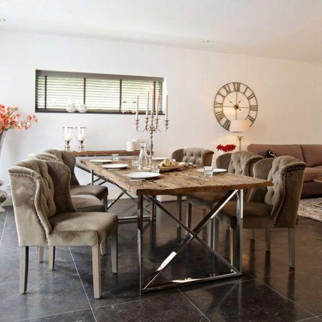 Esstisch Kensington 180x100 - braun/silbern