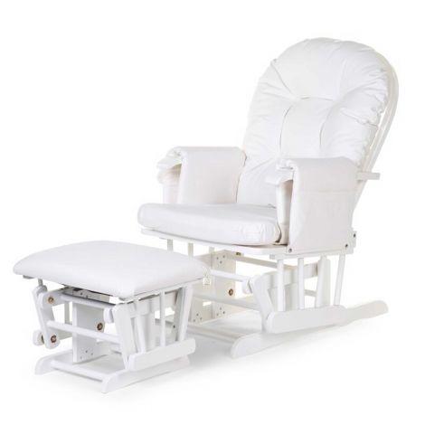 Schaukelstuhl Gleitender Stuhl mit Fußhocker - weiß