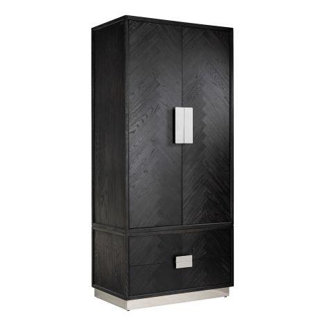 Kleiderschrank Bony 100cm 2 Türen und 2 Schubladen - schwarz/silber