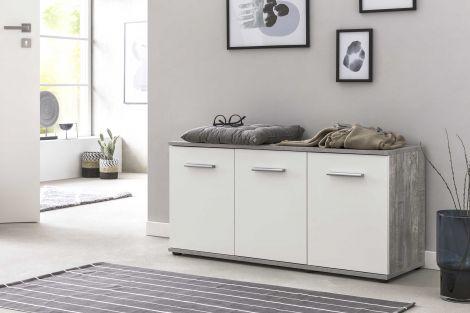 Schuhkommode mit 3 Türen - Beton / Weiß Melamin Dekor
