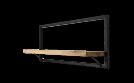 Wandregal Ebenen - 70x32 cm - Mangoholz / Eisen