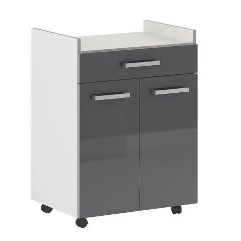 Pixel 1 Schublade & 2 Türen - hochglanz grau