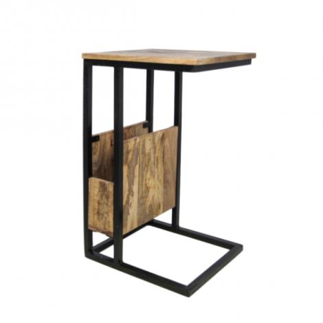 Beistelltisch Rick 68cm mit Zeitschriftenhalter Mango-Holz/Eisen