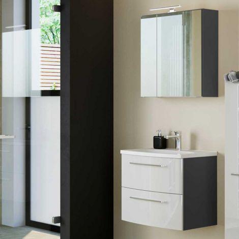 Badezimmer-Kombination Gene 7 60cm - graphitgrau/hochglanz-weiß