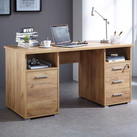 Schreibtisch Branko 145cm mit 1 Tür und 3 Schubladen - Eiche