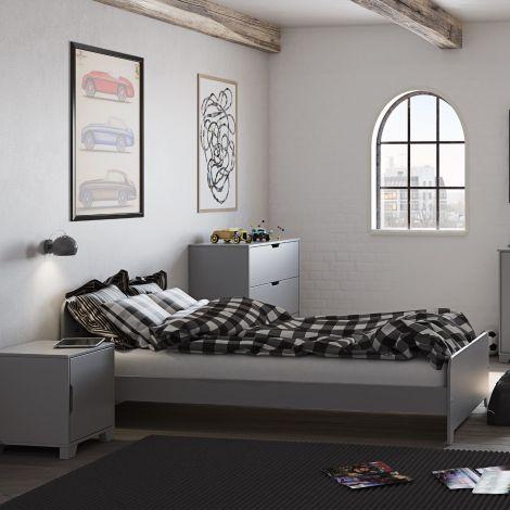 Einzelbett Loki 90x200 - grau