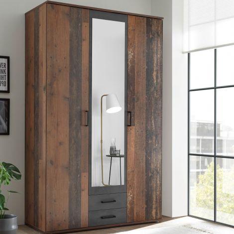 Kleiderschrank Ellis 120cm mit 3 Türen 2 Schubladen und Spiegel - alter Stil/Beton