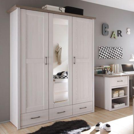 Kleiderschrank Larnaca 148cm mit Spiegel und 3 Türen - weiß