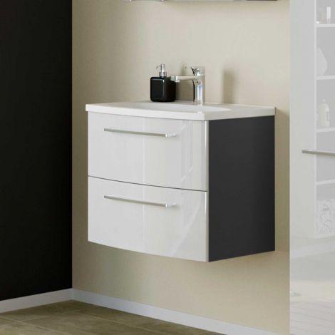 Waschtischunterschrank Gene 60cm 2 Schubladen - graphitgrau/hochglanz-weiß