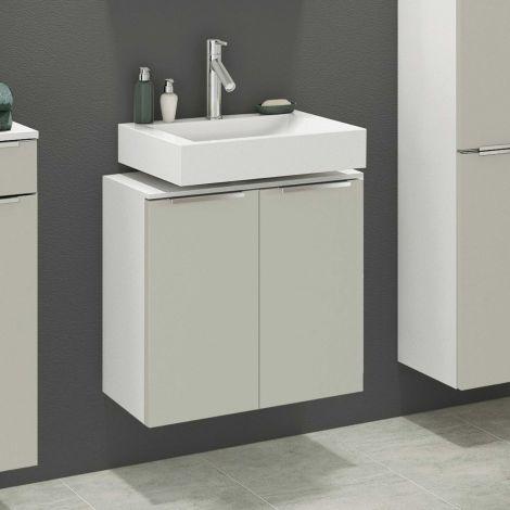 Waschbeckenschrank Hansen 60cm 2 Türen - grau/weiß