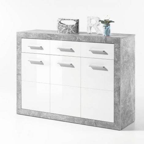Kommode Stanno 117 cm mit 3 Türen und 3 Schubladen - Beton/Weiß