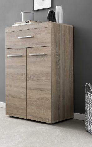 Hochkommode mit 2 Türen und 1 Schublade, Korpus und Fronten in Sonoma Eiche Melamin Dekor - Sonoma Melamin Dekor