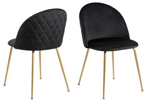 2er Set gepolsterte Stühle Isa - schwarz/kupfer