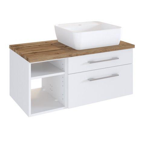 Waschtischunterschrank Dasa (rechts) 90cm mit 2 Schubladen - weiß