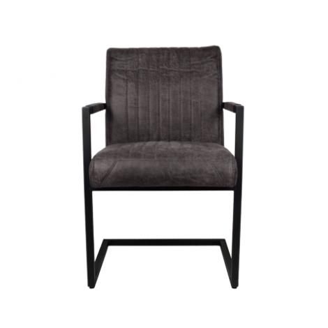 2er Set Esszimmerstühle Texas mit Armlehnen Yachtleder/Metall espresso