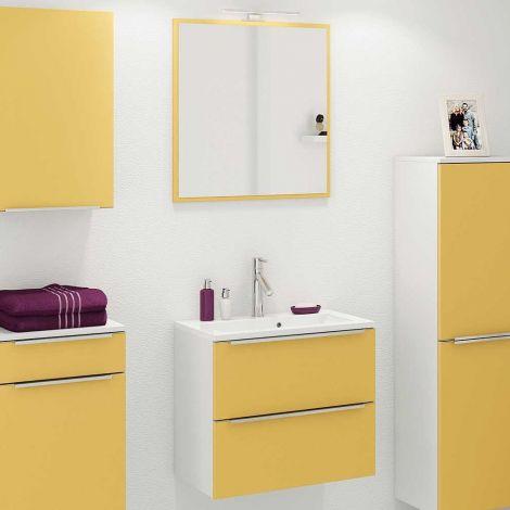 Badezimmerkombination Hansen 8 Waschtischunterschrank und Spiegel 60cm - gelb/weiß