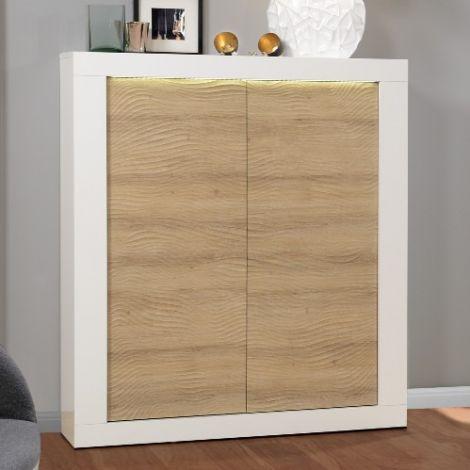 Buffetschrank Kaia 121cm 2 Türen - Hochglanz weiß/Eiche