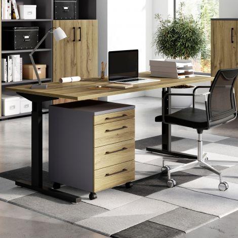 Schreibtisch Presley 160cm mechanisch verstellbar - Eiche/schwarz