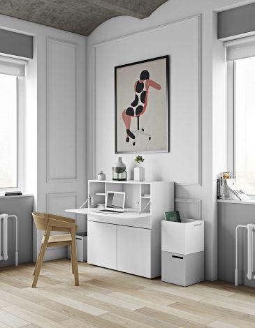 Schreibtisch/Aufbewahrungsschrank Fox 110cm - weiß