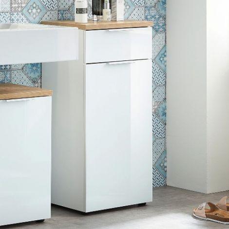 Badezimmerschrank Sepp mit 1 Tür und 1 Schublade - weiß/Eiche