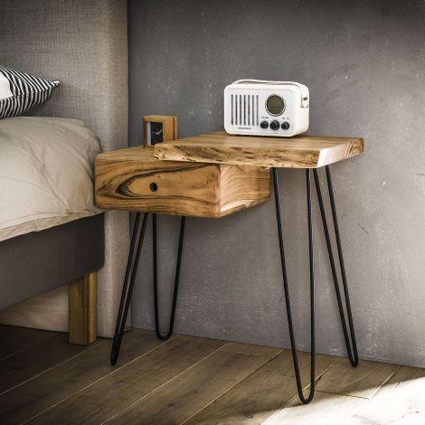 Nachttisch Remi Right industrial - Akazienholz