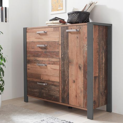 Kommode Hamsik 114cm mit 1 Tür und 4 Schubladen - alter Stil/Beton