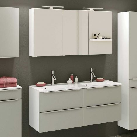 Badkombination Hansen 11 Waschtisch und Spiegelschrank 120cm - grau/weiß