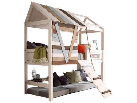 Hüttenbett mit Laufplanke - white wash