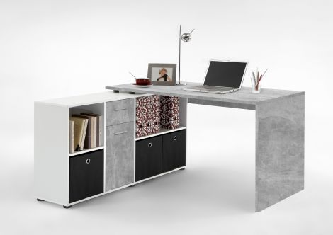 Schreibtisch Lex - Beton/Weiß