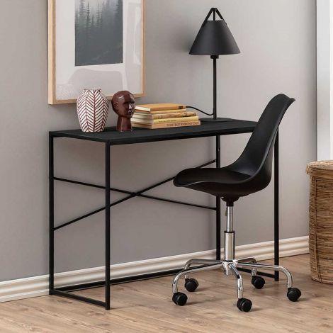 Seaford desk - matt black, black ash