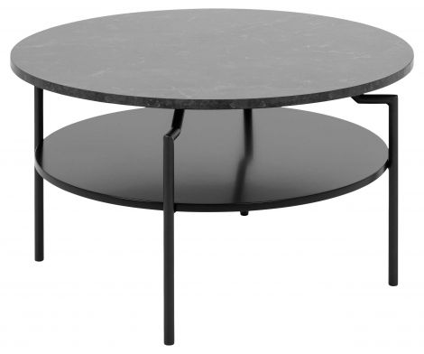 Goldington coffee table - matt black, black marble print