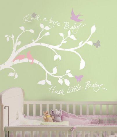 RoomMates Wandsticker - Zweig mit Vogeln und Schmetterlingen