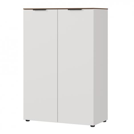 Anaelle 80cm niedriger Schrank mit 2 Türen - weiß/Walnuss