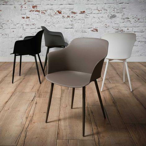 Schalensitz Kunststoff - Set von 4 - Leberfarbe