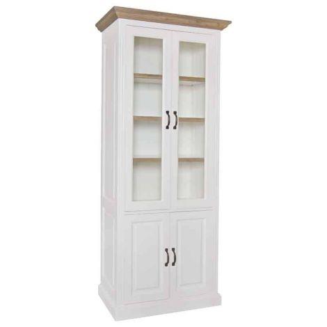Vitrine Oakdale 100cm 4 Türen und 3 Einlegeböden - weiß/Eiche