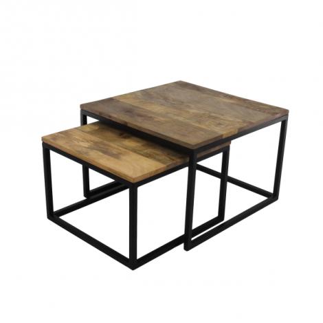 2er-Set Couchtische Meike - Mango-Holz/Eisen