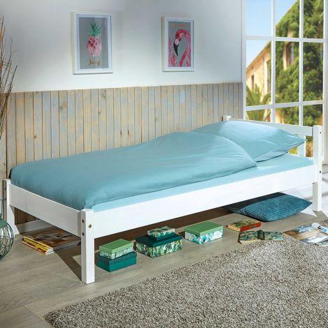 Einzelbett Vilmar massivholz - weiß