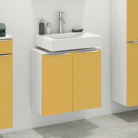 Waschbeckenschrank Hansen 60cm 2 Türen - gelb/weiß