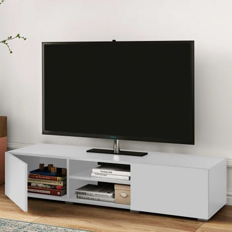 TV-Schrank Podium 140 cm - weiß
