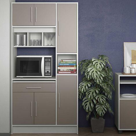 Küchenschrank Louise für Mikrowelle - weiß/taupe grau