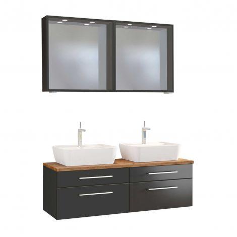 Doppelwaschtischschrank mit Spiegel Dasa 120cm 4 Schubladen - graphit/mattgrau
