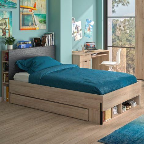Bettkasten mit offenen Fächern für das Doppelbett Castle 120x200 - Eiche/schwarz
