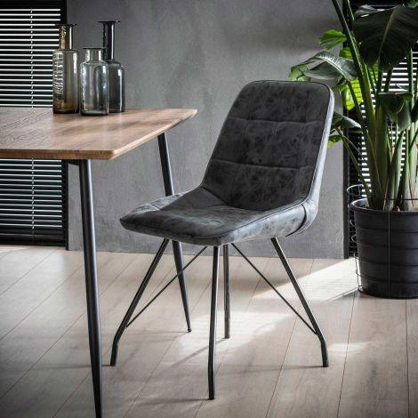 Stuhl Gitter pulverbeschichtet frame - Set von 4 - Wax PU Schwarz
