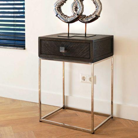 Nachttisch Bony 50cm 1 Schublade - schwarz/silber